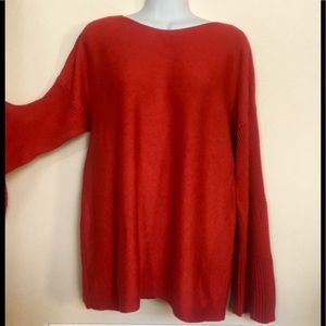 Vince Camuto XL ribbed bell flare sleeve boatneck